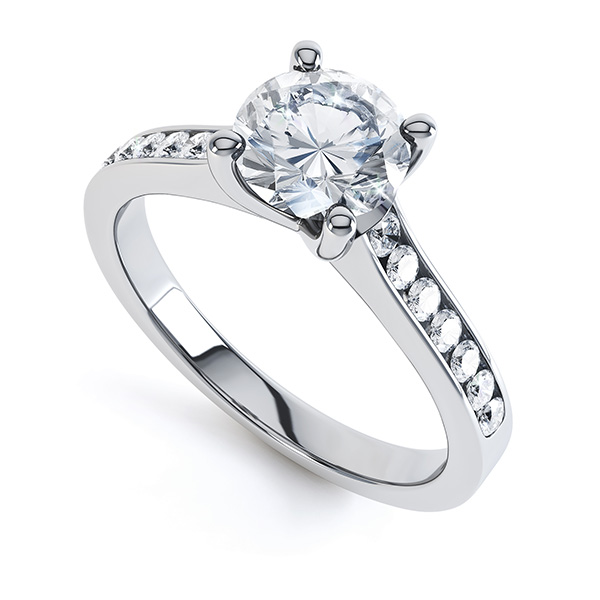 0.25cts Palladium Diamond Shoulder Engagement Ring