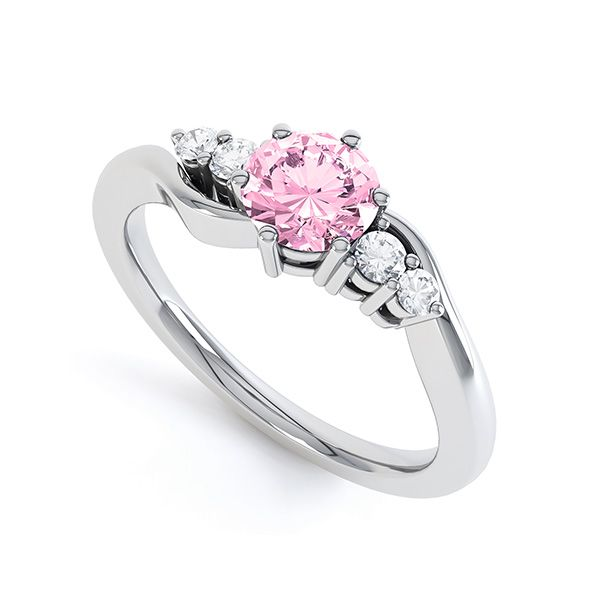 Pink Sapphire And Diamond White Gold Engagement Ring