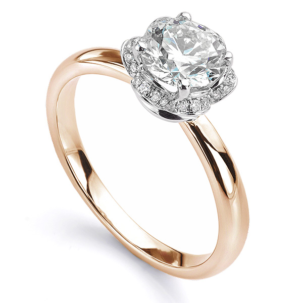 Tulip vintage diamond halo ring in rose gold