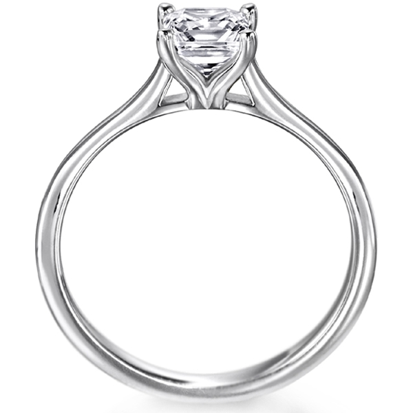 0.51cts J SI1 Certified 4 Claw Engagement Ring Side View