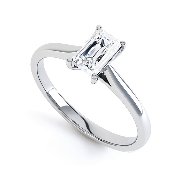 0.60cts GIA Emerald Cut Diamond Engagement Ring