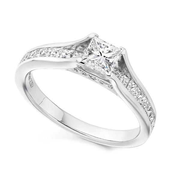 Unique Princess Cut Engagement Ring with Diamond Shoulders
