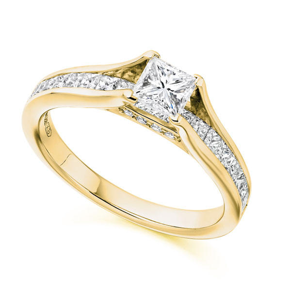 Unique Princess Cut Engagement Ring with Diamond Shoulders Full View