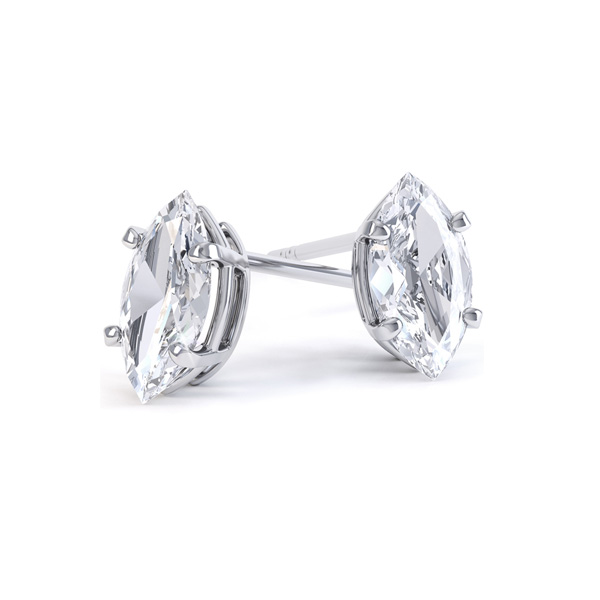 4 Claw Marquise Diamond Stud Earrings