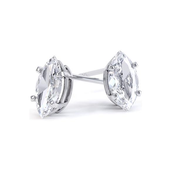4 Claw Marquise Diamond Stud Earrings