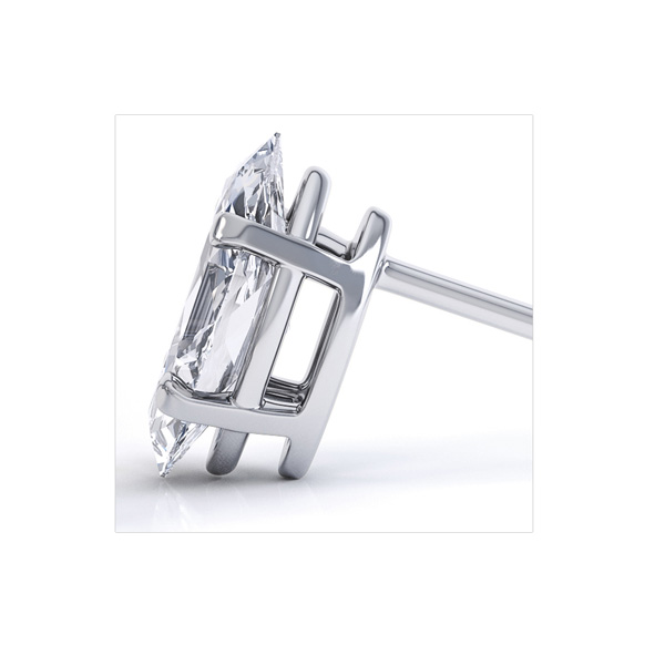 4 Claw Marquise Diamond Stud Earrings Side View