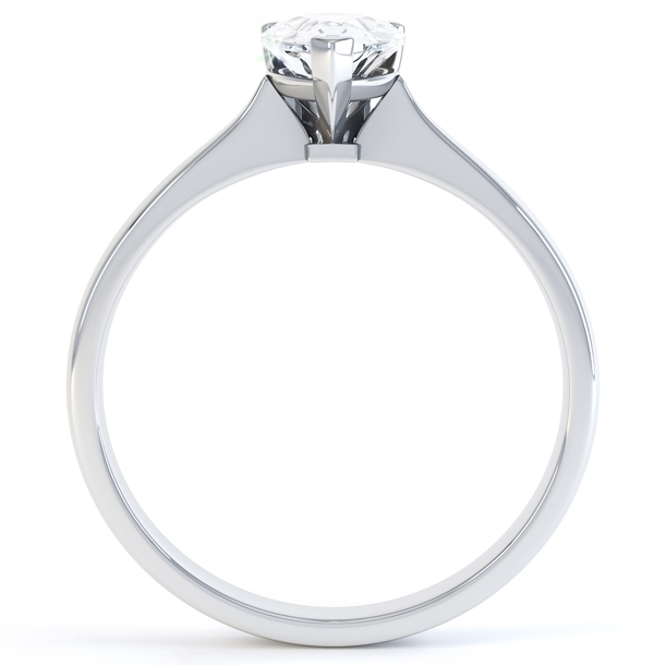 3 Claw Pear Shape Diamond Solitaire Ring Side View