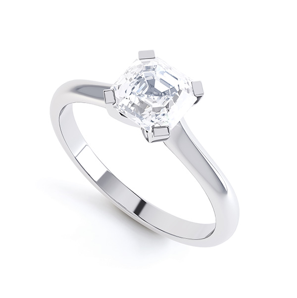 Asscher Diamond Solitaire Ring with 4 Square Claws