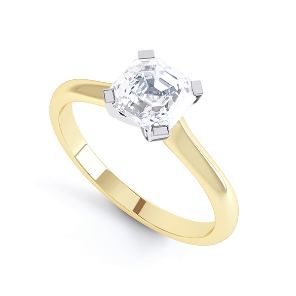 Asscher Diamond Solitaire Ring with 4 Square Claws In Yellow Gold