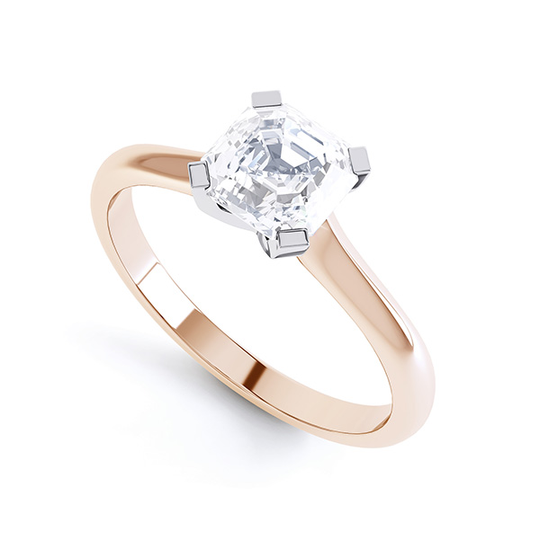 Asscher Diamond Solitaire Ring with 4 Square Claws Front View Rose Gold
