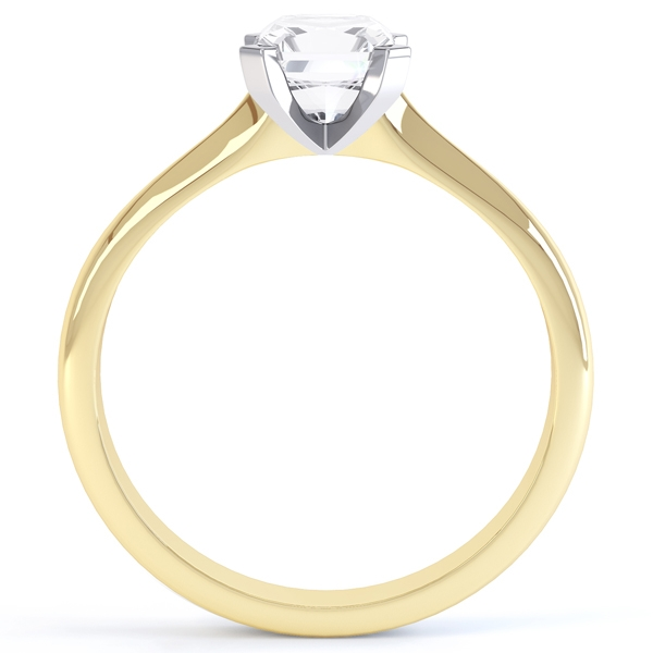 4 Claw Radiant Cut Diamond Solitaire Ring In Yellow Gold