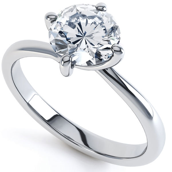 0.50cts IGI Certified Round Brilliant Four Claw Twist Engagement Ring