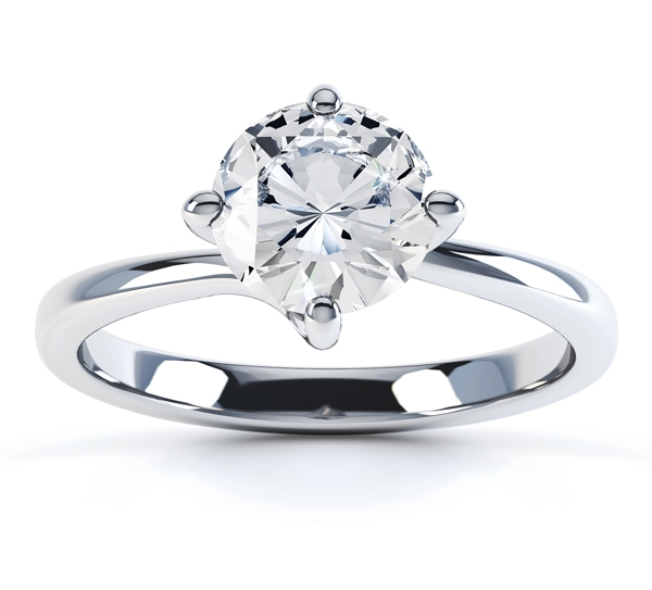0.50cts IGI Certified Round Brilliant Four Claw Twist Engagement Ring Front View
