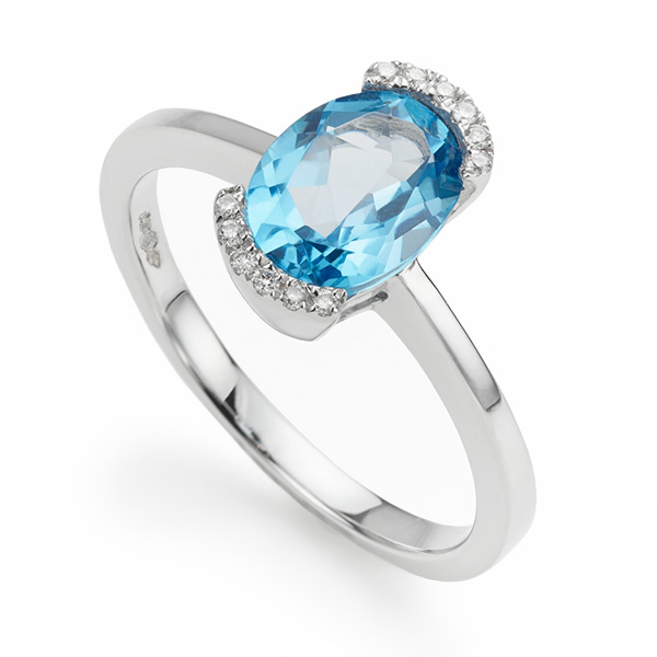 Blue Topaz and Diamond Halo Engagement Ring