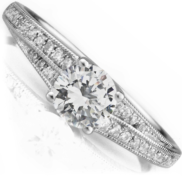 0.45cts Vintage Styled Engagement Ring with Stepped Shoulders