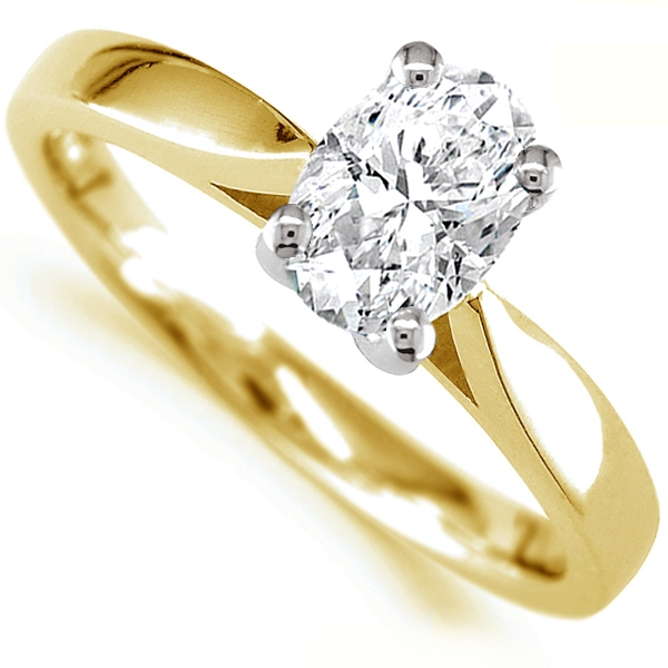 0.80cts JSI2 Oval Diamond Solitaire Engagement Ring In Yellow Gold