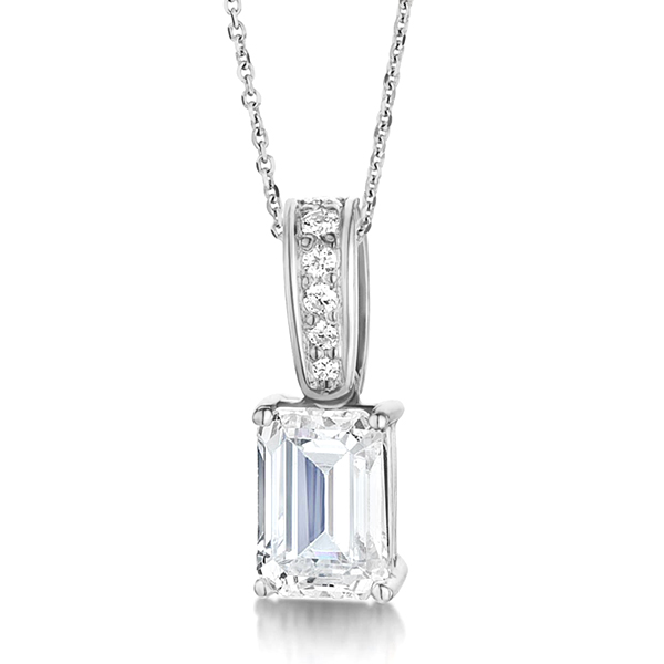 Emerald Cut Diamond Pendant With Diamond Loop