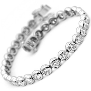 Bezel Rub-Over Diamond Tennis Bracelet