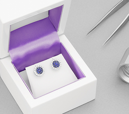 Diamond earrings - diamond and blue sapphire