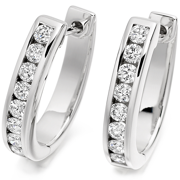0.76cts Channel Set Round Diamond Hoop Earrings