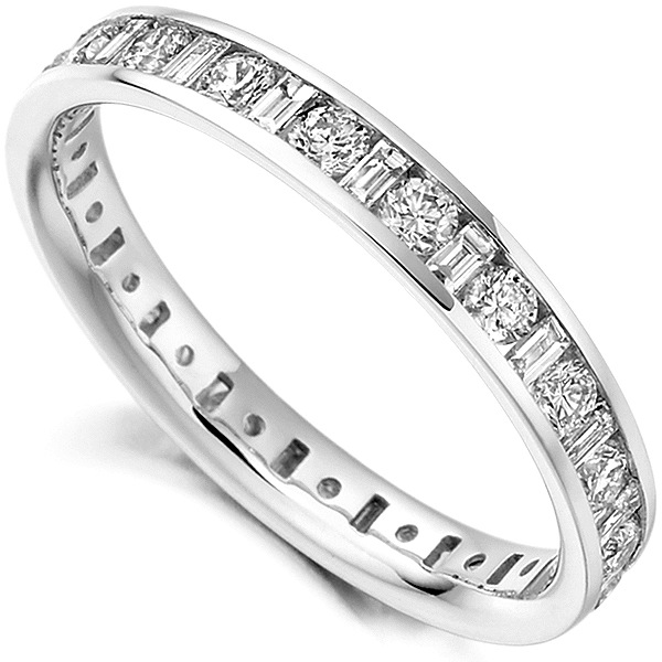 1.15ct Baguette and Round Diamond Full Eternity Ring