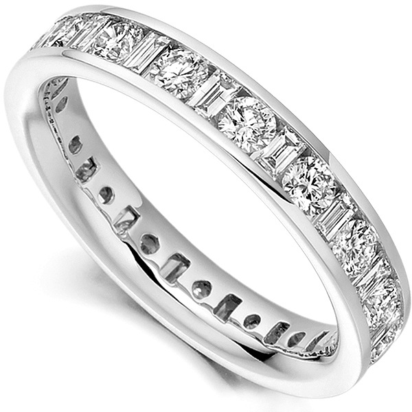 2 Carat Round and Baguette Diamond Full Eternity Ring