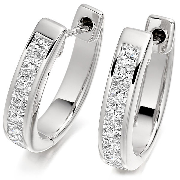 1 Carat Princess cut Diamond Hoop Earrings