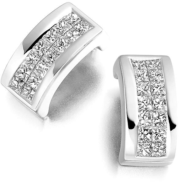 Double Row Princess Diamond Stud Earrings