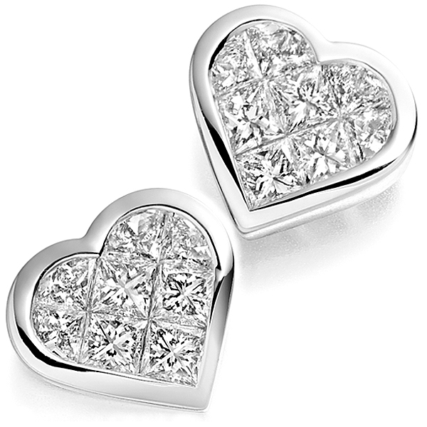 Invisible Set Heart Shaped Diamond Earrings