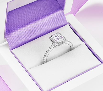 Diamond halo engagement rings Kiera emerald cut ring