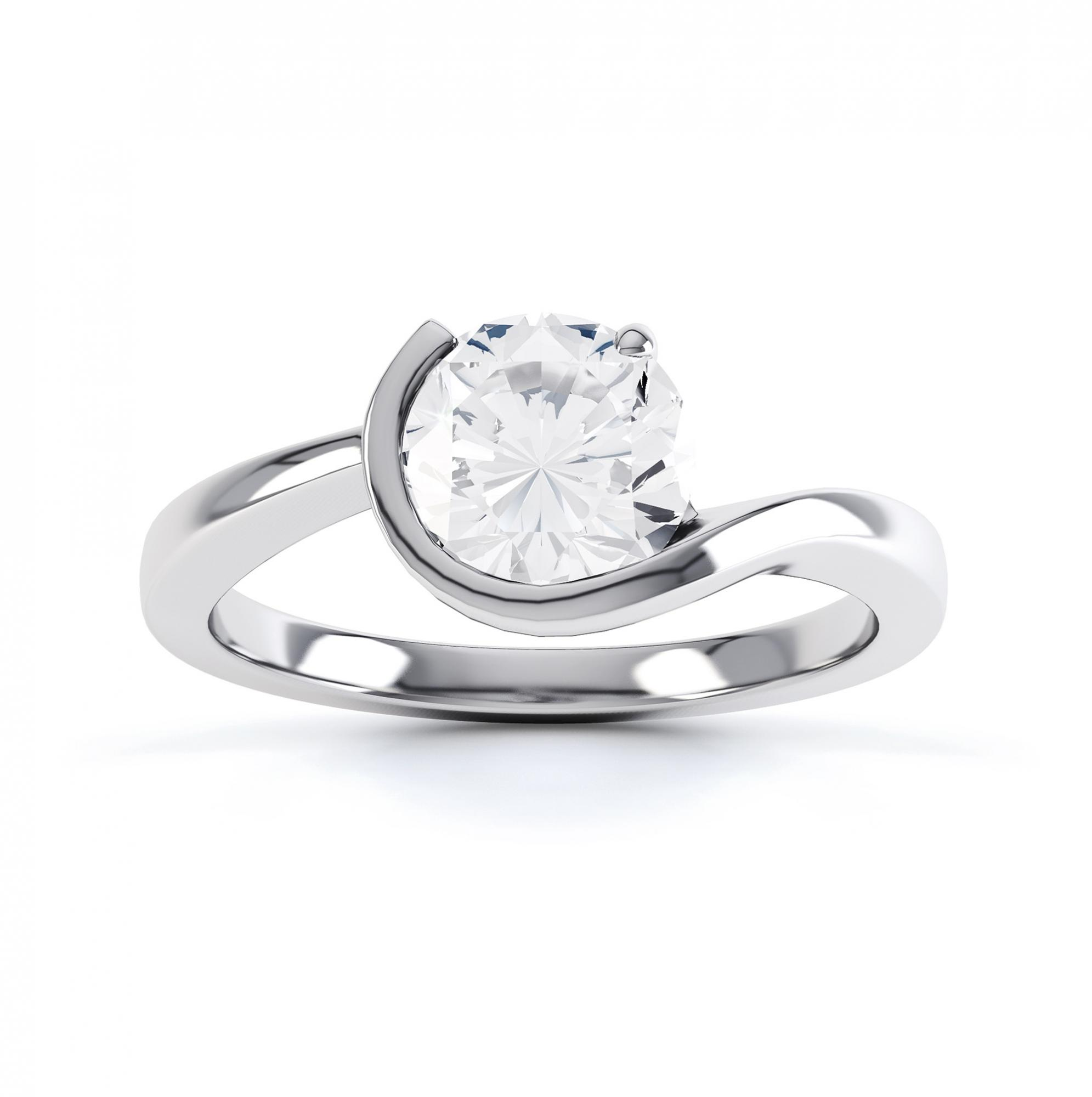 Asymmetrical round solitaire diamond engagement ring