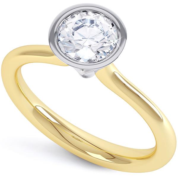 Oceana Rub Over Bezel Solitaire Diamond Engagement Ring