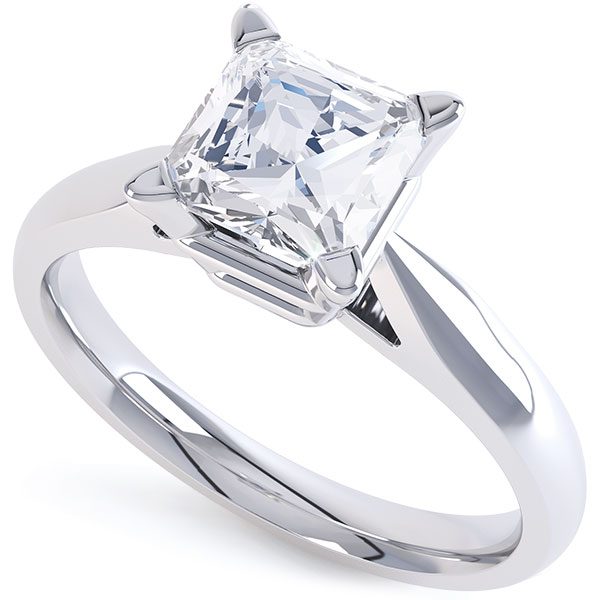Traditional 4 Claw Princess Diamond Solitaire Ring