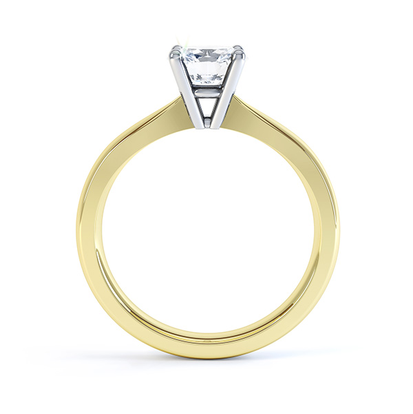 Ella engagement ring side view in yellow gold