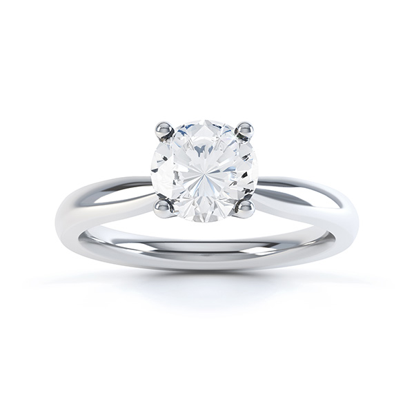 Ella engagement ring R1D004 top view in white gold