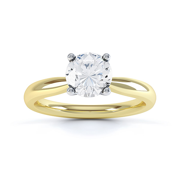 Ella engagement ring R1D004 top view in yellow gold