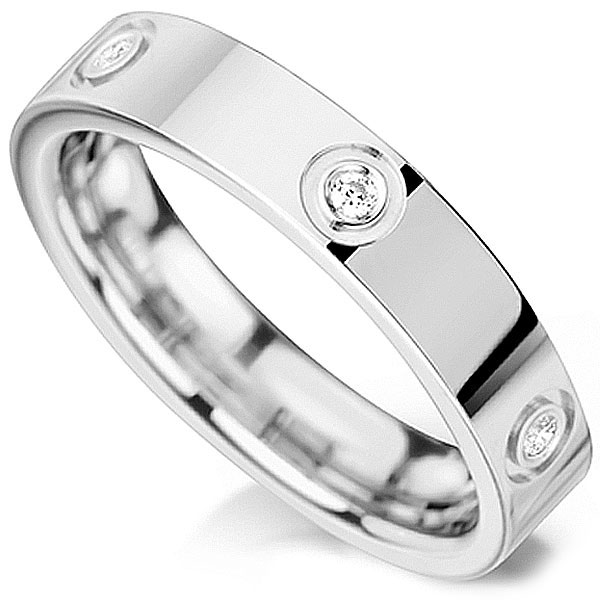 Unusual Bezel Set Diamond Wedding Ring