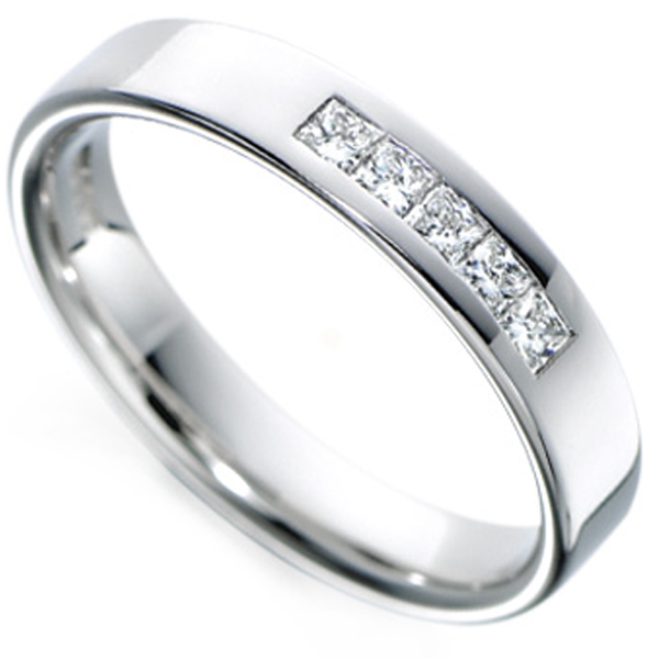 Channel Set 5 Stone Princess Diamond Wedding Ring