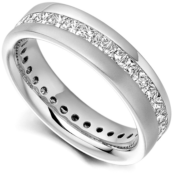 Diagonal Channel Full Princess Diamond Eternity Ring