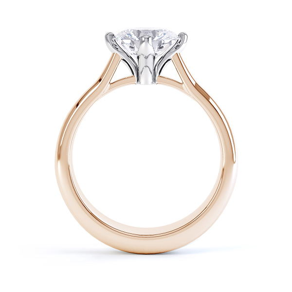 Naomi compass set engagement ring side view shown in rose gold