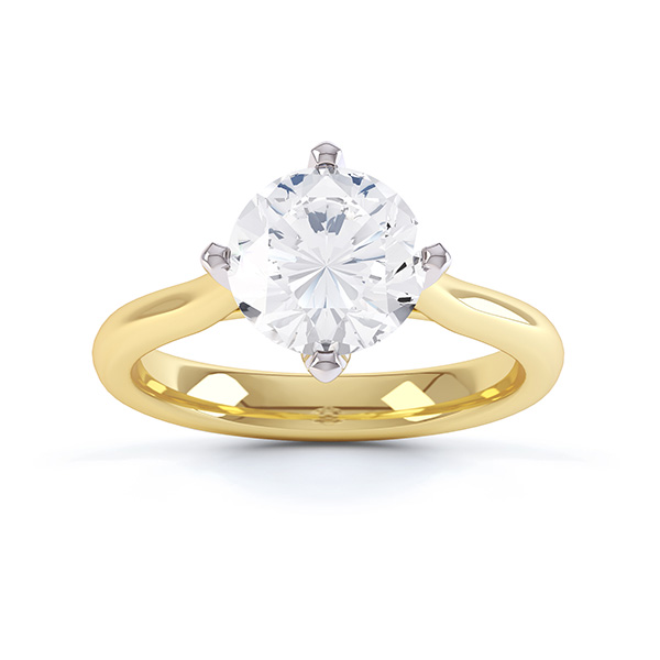 Naomi solitaire engagement ring R1D022 top view in yellow gold