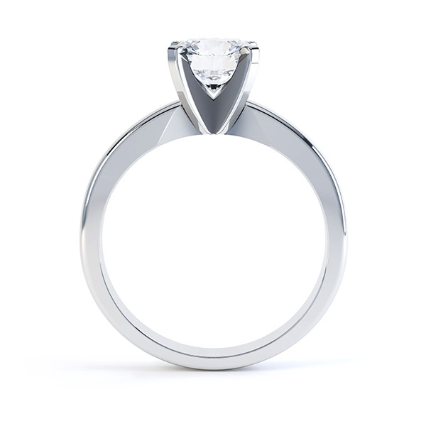 Ava 4 claw engagement ring R1D001 side view shown in white gold