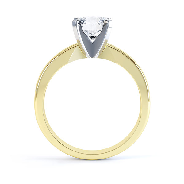 Ava 4 claw engagement ring R1D001 side view shown in yellow gold