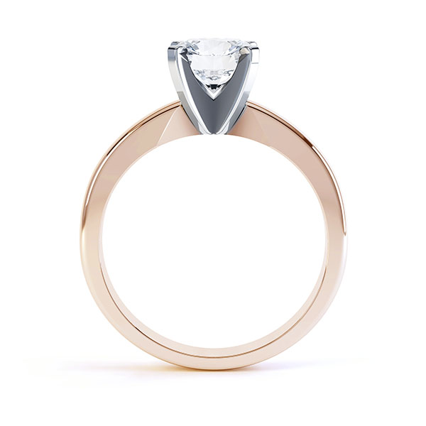 Ava 4 claw engagement ring R1D001 side view shown in rose gold