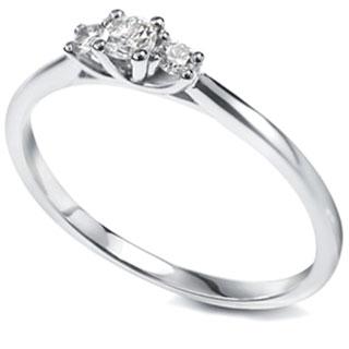 Petite three stone diamond engagement ring