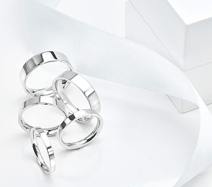 Plain wedding rings of the flat court shape