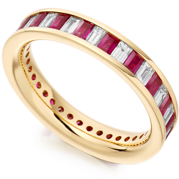 1 Carat Baguette Cut Diamond and Ruby Full Eternity Ring