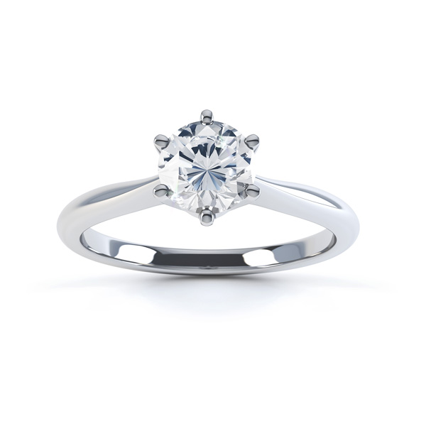Millie engagement ring traditional 6 claw solitaire white gold top view