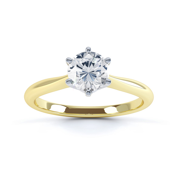 Millie engagement ring traditional 6 claw solitaire yellow gold top view