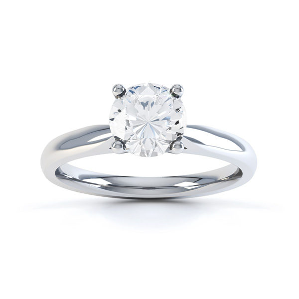 Harmony 4 claw solitaire diamond engagement ring white gold top view